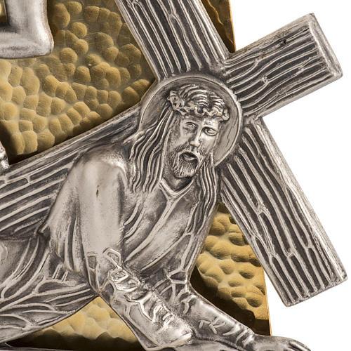 Vía Crucis 15 estaciones bronce martillado dorado 2