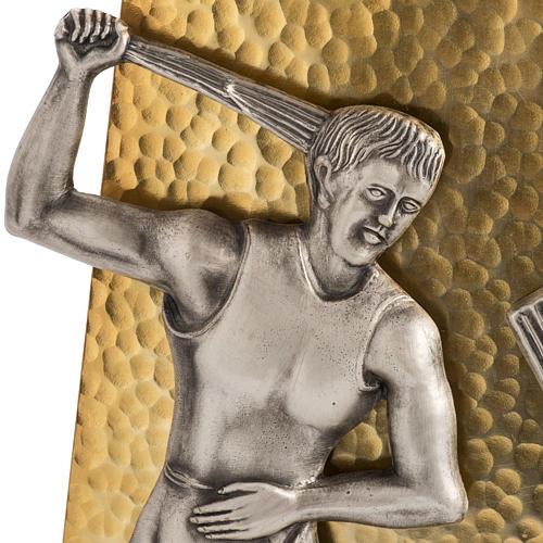 Vía Crucis 15 estaciones bronce martillado dorado 3