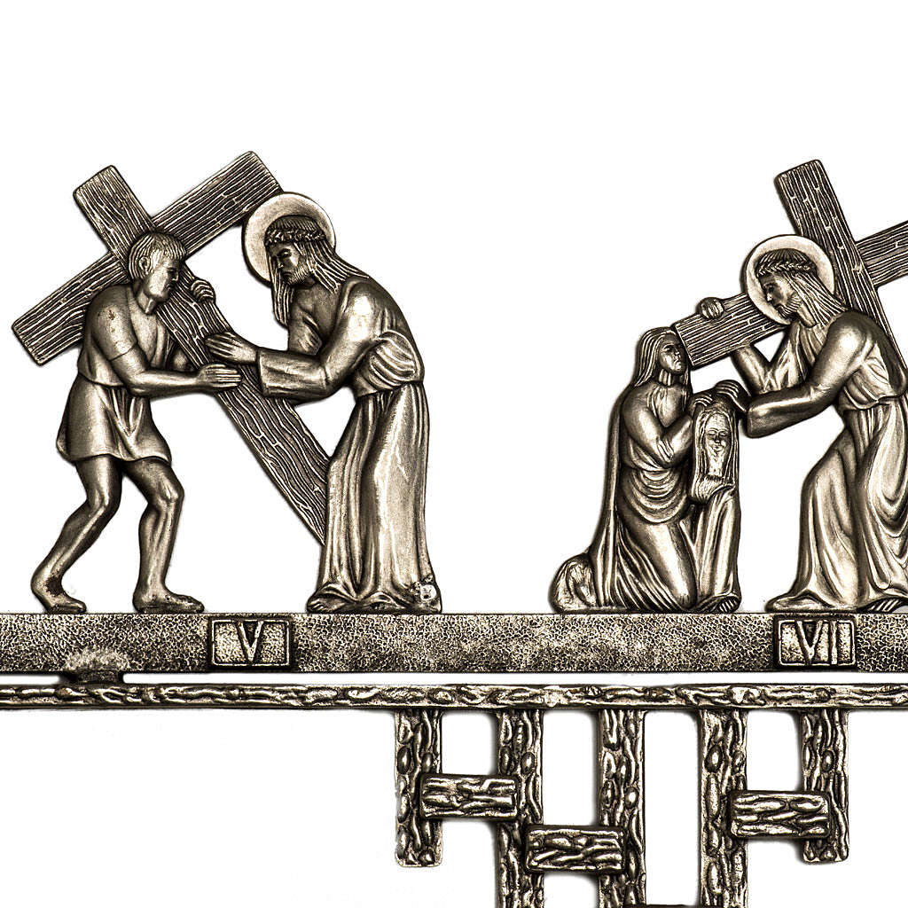 Way of the Cross in brass 2 pieces, 14 stations 4