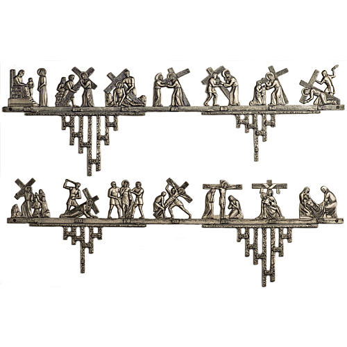 Way of the Cross in brass 2 pieces, 14 stations 1