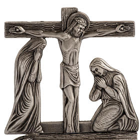 Stylized way of the cross in silver plated bronze, 15 stations s2