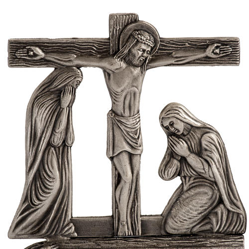Stylized way of the cross in silver plated bronze, 15 stations 2
