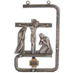 Via Crucis stilizzata 15 stazioni in bronzo argentato s1