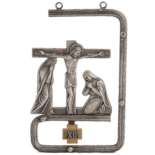 Stylized Way of the Cross in silver plated bronze, 15 stations 1
