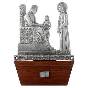 Vía Crucis 15 estaciones base de madera bronce plateado s1