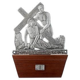 Vía Crucis 15 estaciones base de madera bronce plateado s3