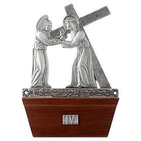 Vía Crucis 15 estaciones base de madera bronce plateado s4