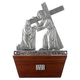 Vía Crucis 15 estaciones base de madera bronce plateado s6