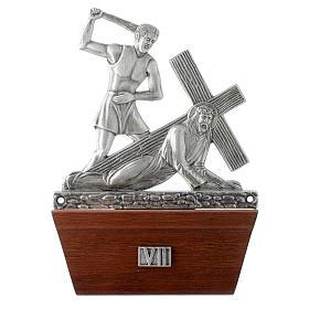 Vía Crucis 15 estaciones base de madera bronce plateado s7