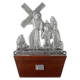 Vía Crucis 15 estaciones base de madera bronce plateado s8