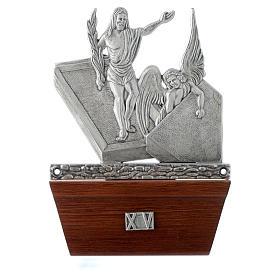 Vía Crucis 15 estaciones base de madera bronce plateado s15
