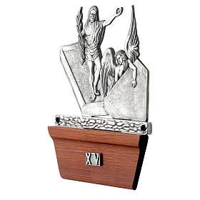 Vía Crucis 15 estaciones base de madera bronce plateado s16
