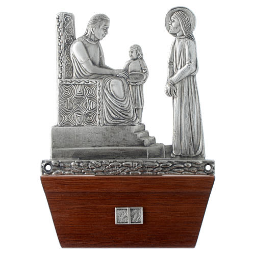 Vía Crucis 15 estaciones base de madera bronce plateado 1