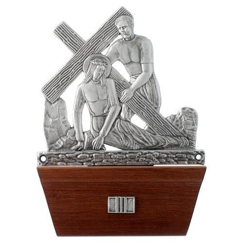 Vía Crucis 15 estaciones base de madera bronce plateado 3