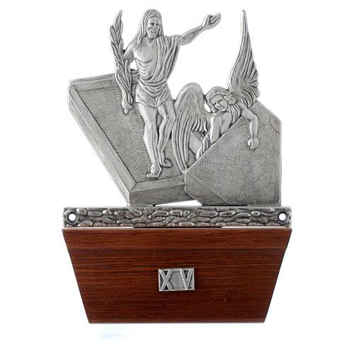 Vía Crucis 15 estaciones base de madera bronce plateado 15