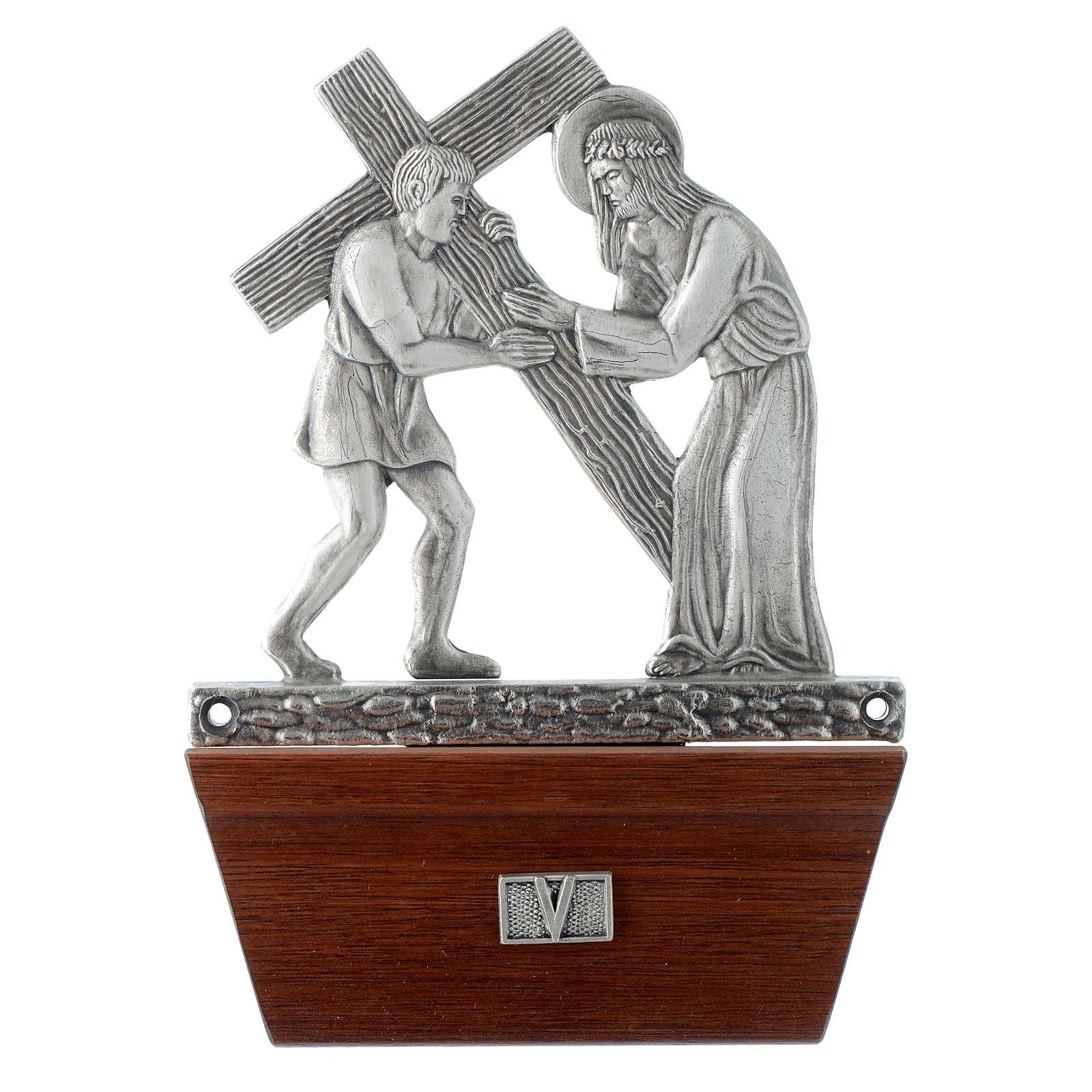 Via Crucis 15 stazioni in bronzo argentato base legno 4