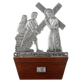 Via Crucis 15 stazioni in bronzo argentato base legno s2