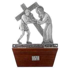 Via Crucis 15 stazioni in bronzo argentato base legno s5