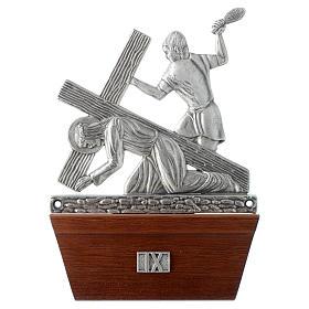 Via Crucis 15 stazioni in bronzo argentato base legno s9
