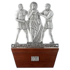 Via Crucis 15 stazioni in bronzo argentato base legno s10
