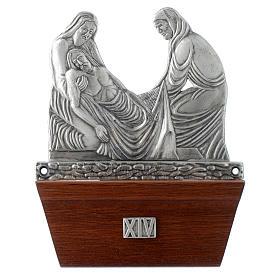 Via Crucis 15 stazioni in bronzo argentato base legno s14