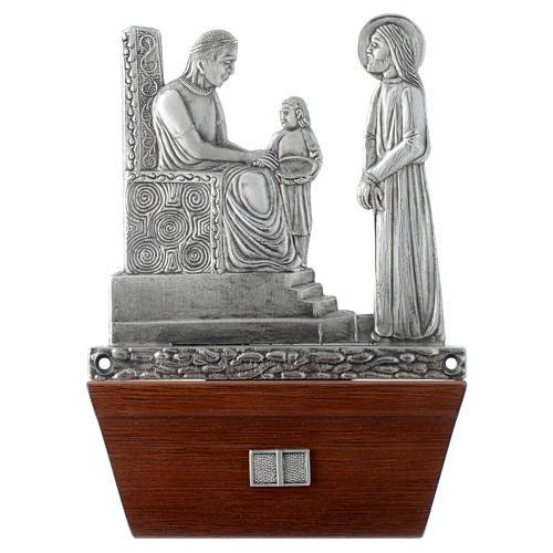 Via Crucis 15 stazioni in bronzo argentato base legno 1