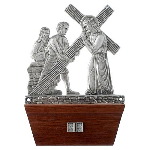 Via Crucis 15 stazioni in bronzo argentato base legno 2