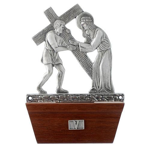 Via Crucis 15 stazioni in bronzo argentato base legno 5