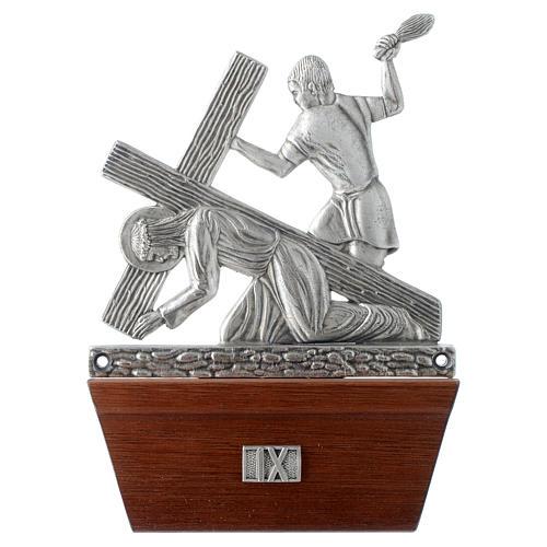 Via Crucis 15 stazioni in bronzo argentato base legno 9