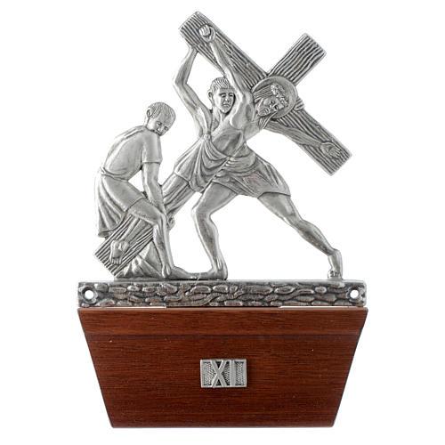 Via Crucis 15 stazioni in bronzo argentato base legno 11