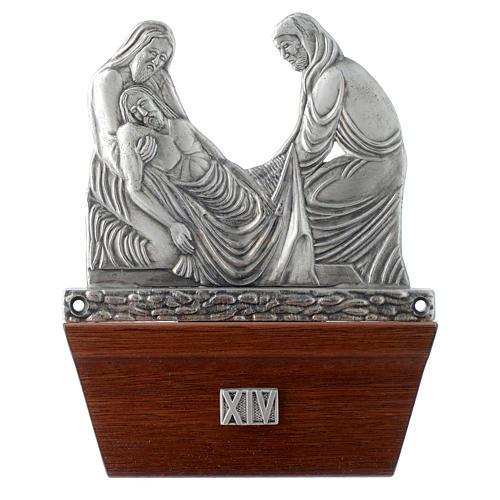 Via Crucis 15 stazioni in bronzo argentato base legno 14
