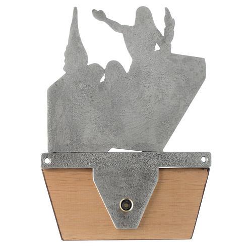 Via Crucis 15 stazioni in bronzo argentato base legno 17