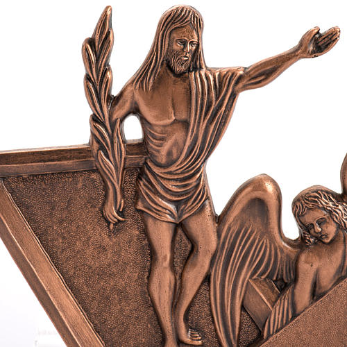 Way of the cross in copper plated bronze and wood, 15 stations 2