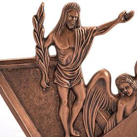 Vía Crucis bronce cobrizo 15 estaciones base madera s2
