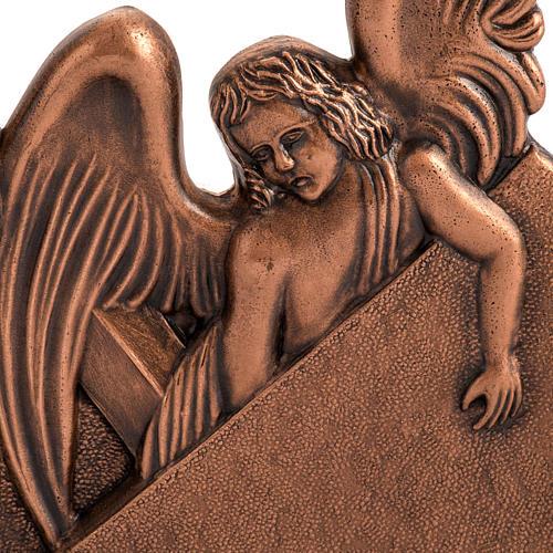 Vía Crucis bronce cobrizo 15 estaciones base madera 3