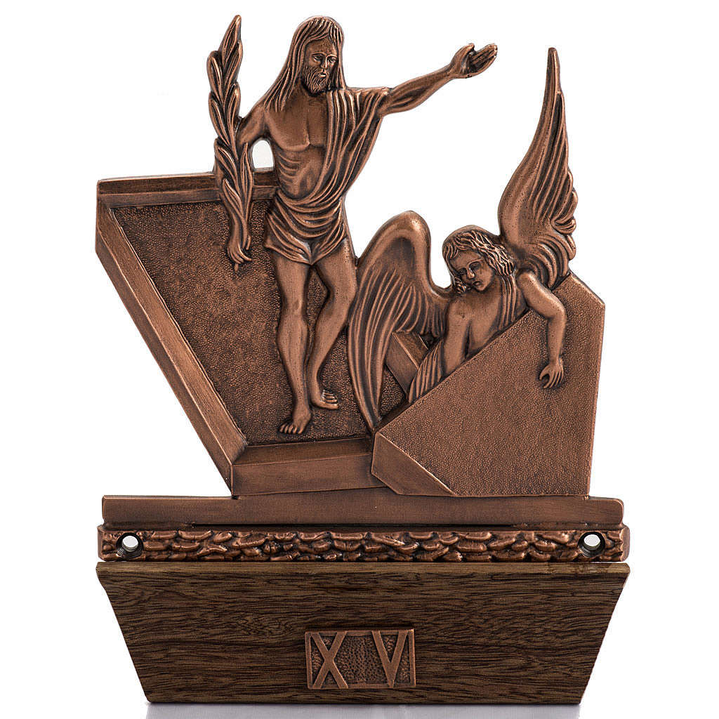 Way of the Cross in copper plated bronze and wood, 15 stations 4