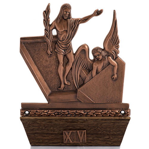 Way of the Cross in copper plated bronze and wood, 15 stations 1