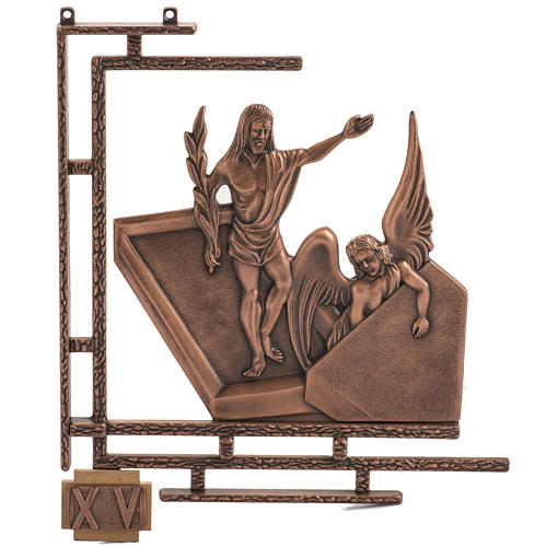 Way of the cross in copper plated bronze, 15 stations 1