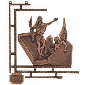 Via Crucis 15 stazioni in bronzo ramato crocetta legno s1