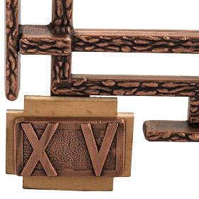 Via Crucis 15 stazioni in bronzo ramato crocetta legno s4