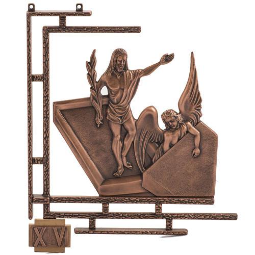 Via Crucis 15 stazioni in bronzo ramato crocetta legno 1
