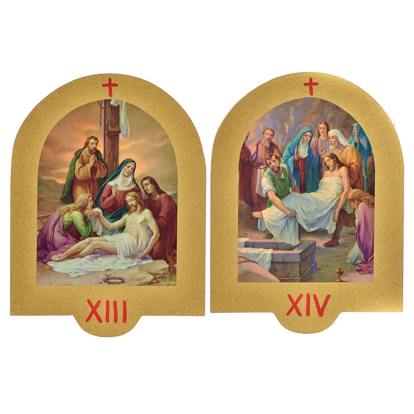 Vía Crucis estampa sobre madera 19x14 cm 15 estaciones 4