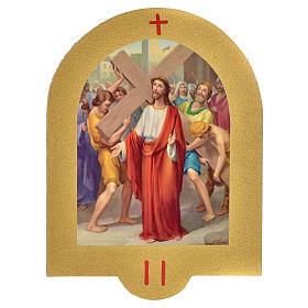 Vía Crucis estampa sobre madera 19x14 cm 15 estaciones s2