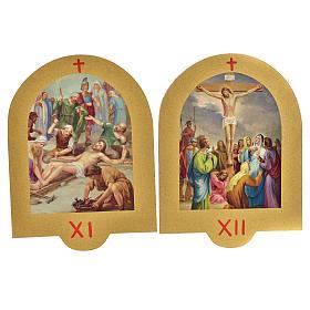 Vía Crucis estampa sobre madera 19x14 cm 15 estaciones s7