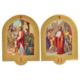 Vía Crucis estampa sobre madera 19x14 cm 15 estaciones s10