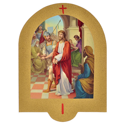 Vía Crucis estampa sobre madera 19x14 cm 15 estaciones 1
