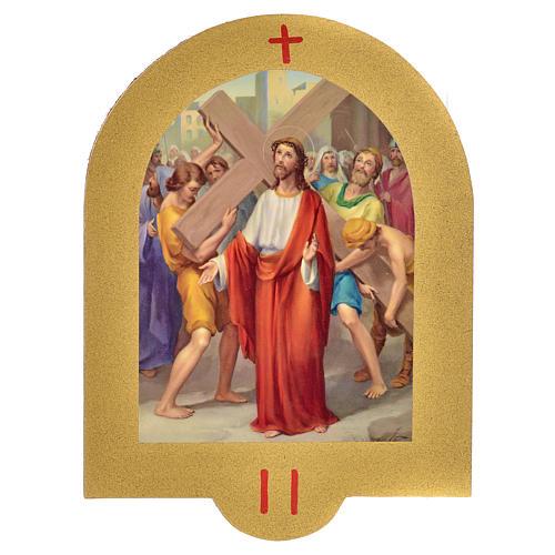 Vía Crucis estampa sobre madera 19x14 cm 15 estaciones 2