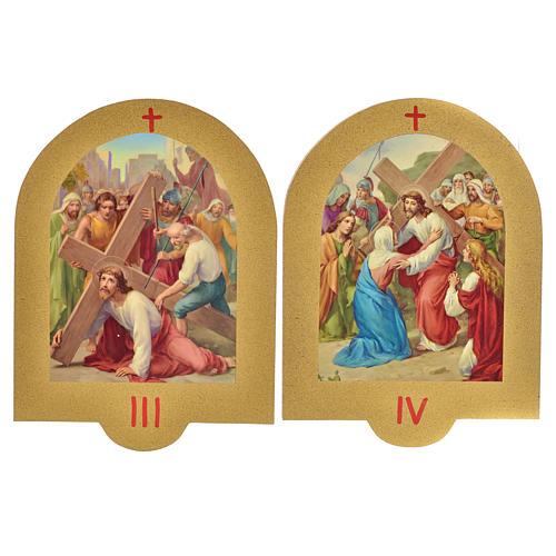 Vía Crucis estampa sobre madera 19x14 cm 15 estaciones 3
