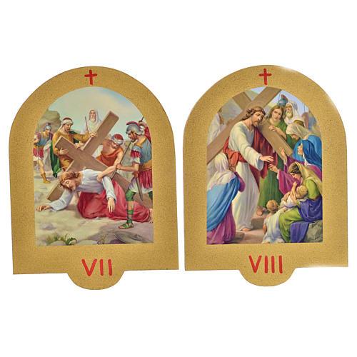 Vía Crucis estampa sobre madera 19x14 cm 15 estaciones 5