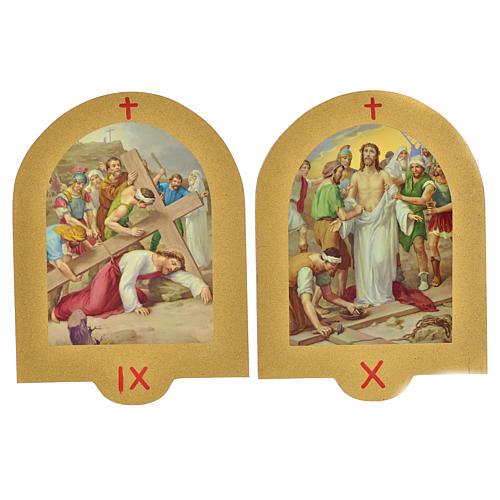 Vía Crucis estampa sobre madera 19x14 cm 15 estaciones 6